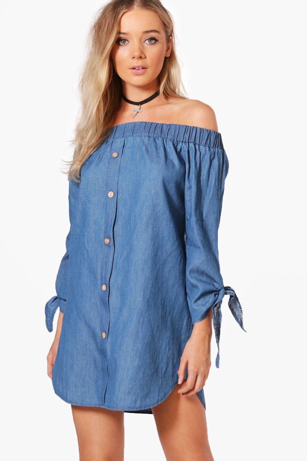 Boohoo Button Off Shoulder Chambray Dress Discount 100% Guaranteed Genuine Sale Online Pictures Online Fast Express aLM8kmljm