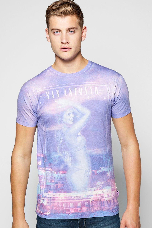 Boohoo san antonio print t shirt for men lyst for Shirt printing in san antonio