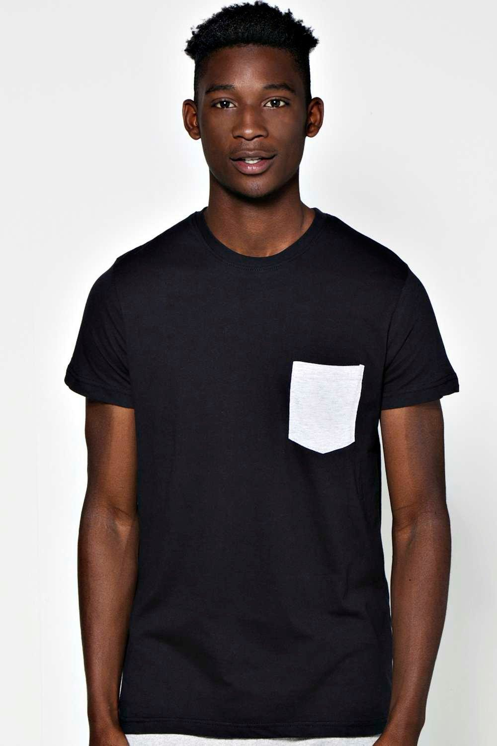 boohoo crew neck contrast pocket t shirt in for lyst