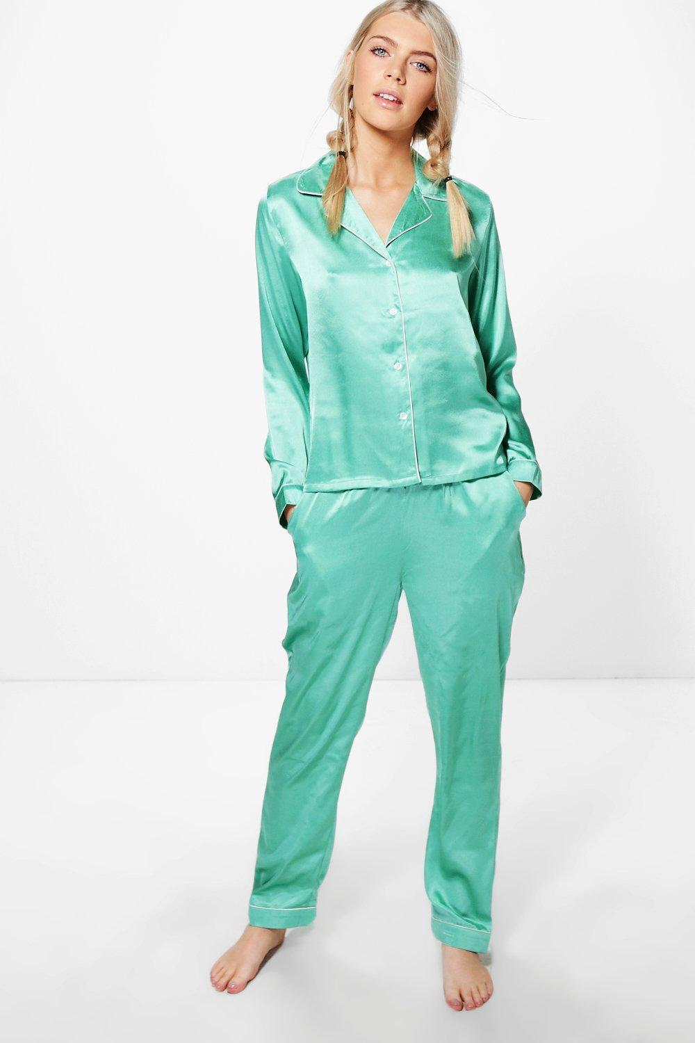 ee2469f191 Lyst - Boohoo Millie Satin Shirt And Trouser Night Set in Green