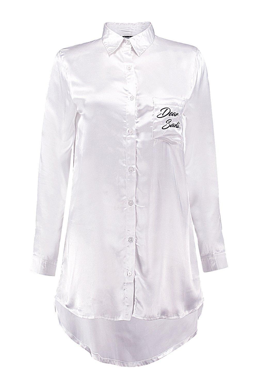 Boohoo Ava Dear Santa Satin Button Down Night Shirt - Lyst af404c712