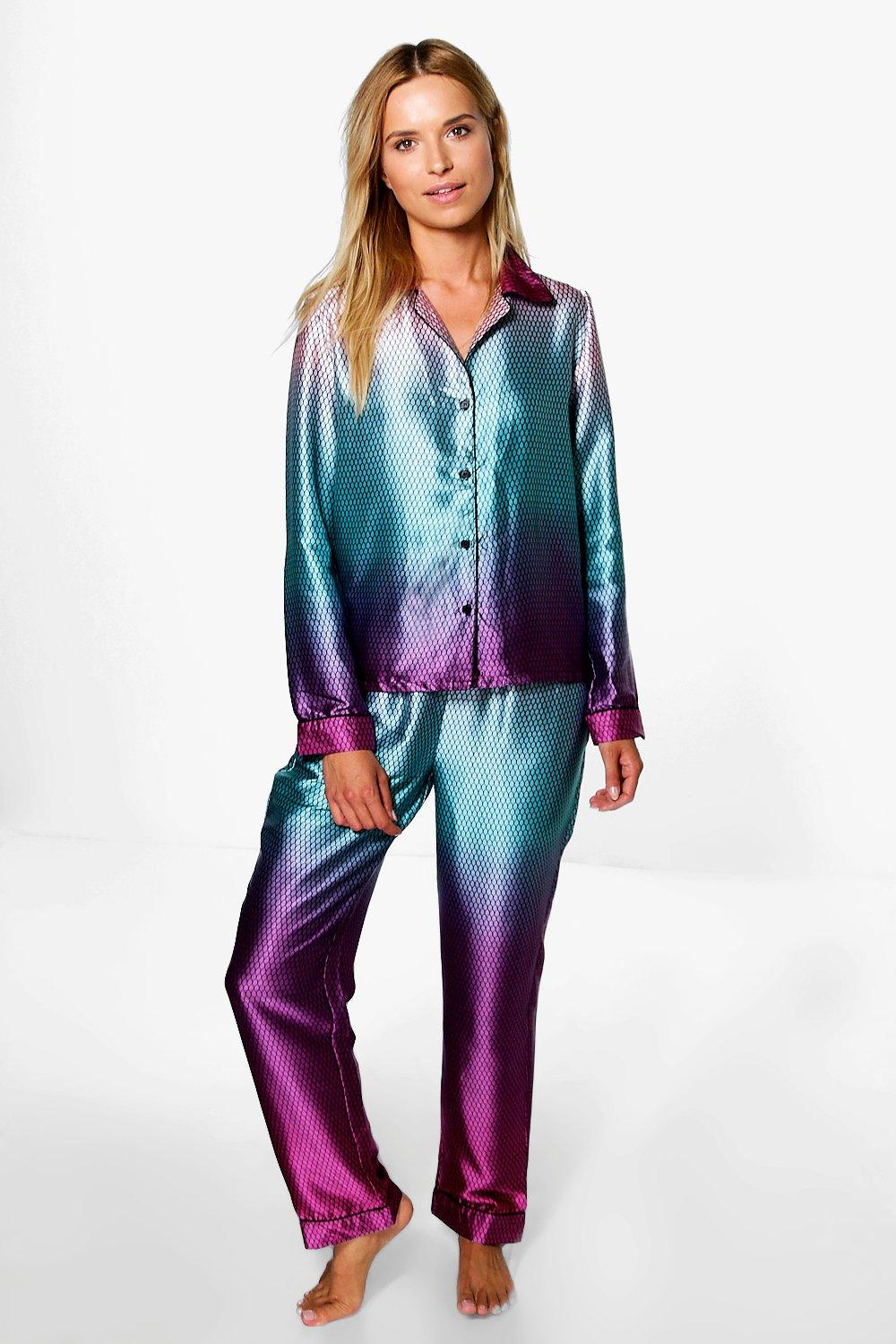 021ab183e9 Boohoo Tia Mermaid Print Satin Night Shirt + Trouser Set in Blue - Lyst