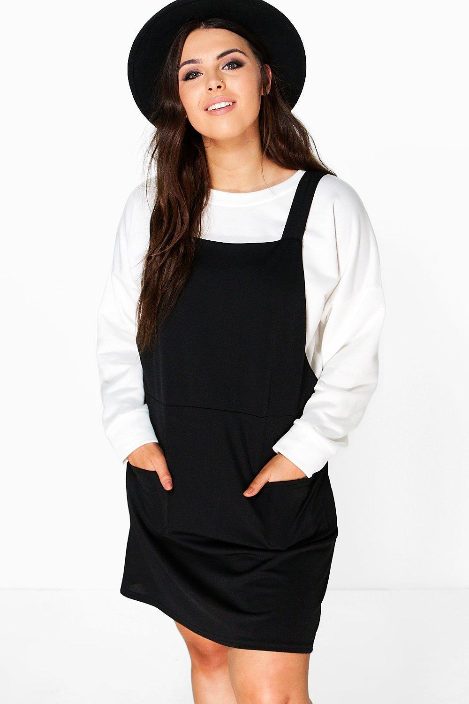 2e688fb0ff5 Lyst - Boohoo Plus Mia Pinafore Dress in Black