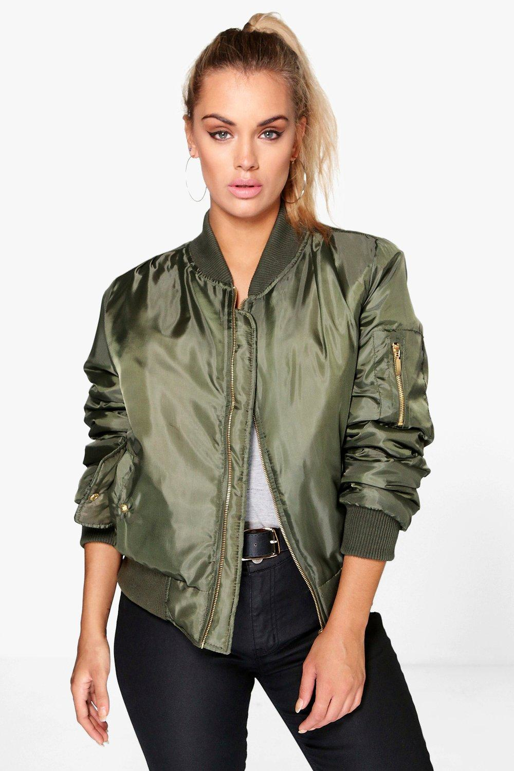 Boohoo Plus Candace Ma1 Bomber Jacket In Green Lyst