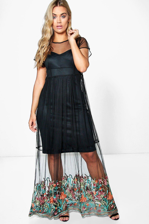 def0ef7dafa92 Boohoo Plus Holly Embroidered Hem Mesh Maxi Dress in Black - Lyst