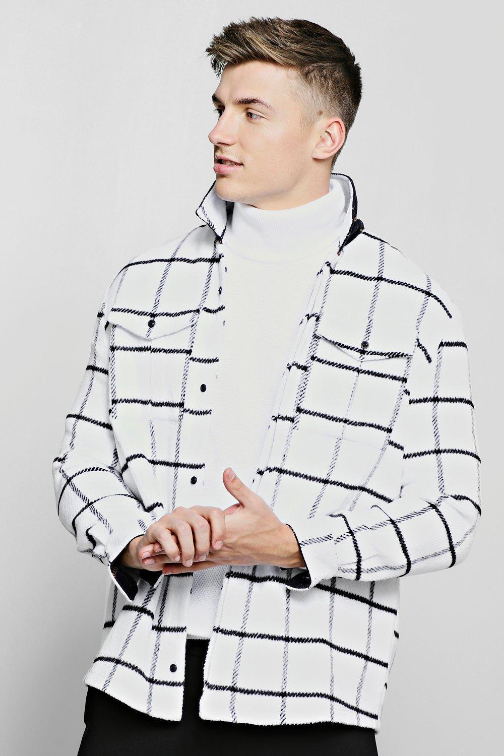 7aba1102f Boohoo Brushed Check Double Pocket Long Sleeve Shacket in White for ...