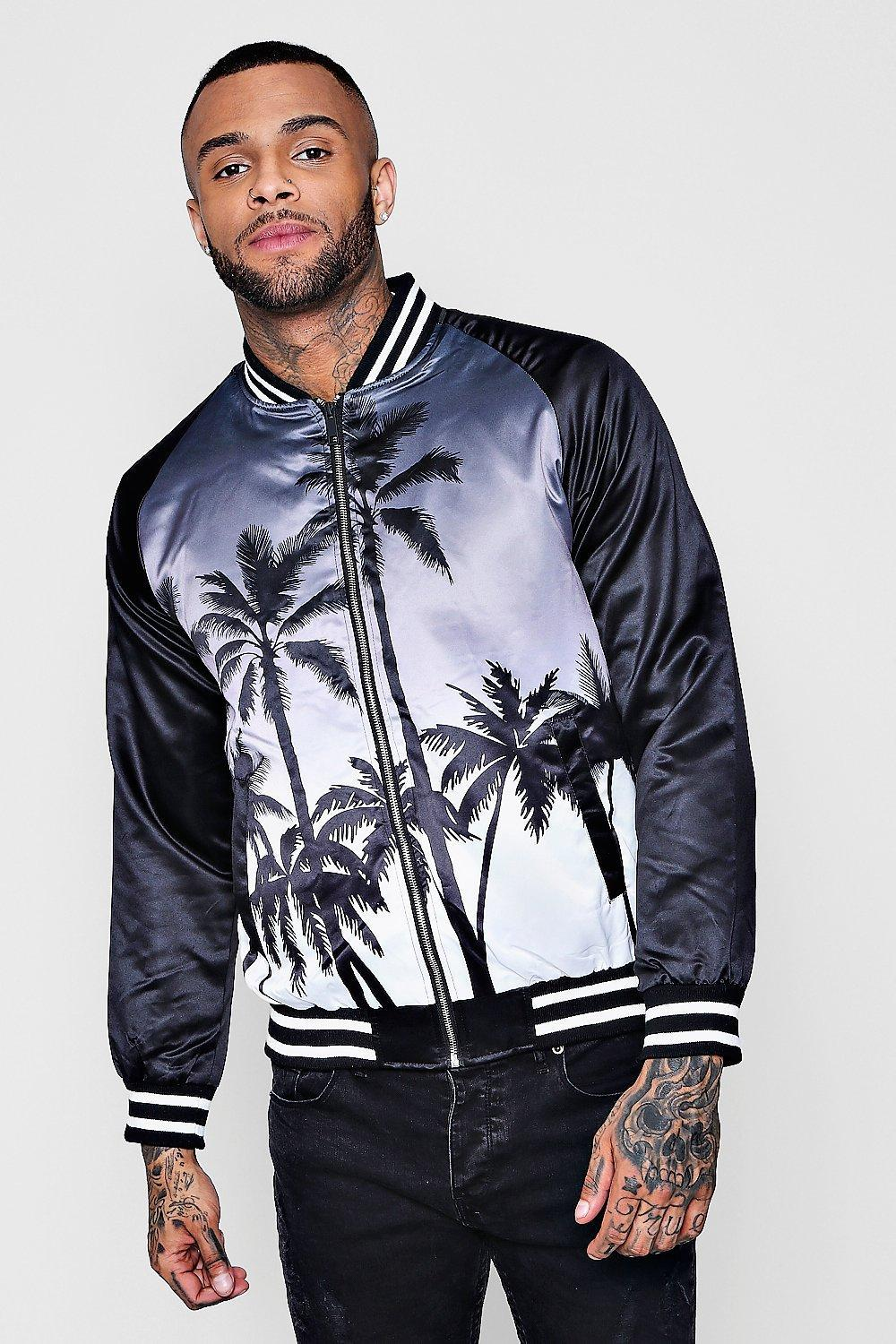 058e3cddda83a Boohoo Ombre Palm Print Bomber Jacket in Black for Men - Lyst