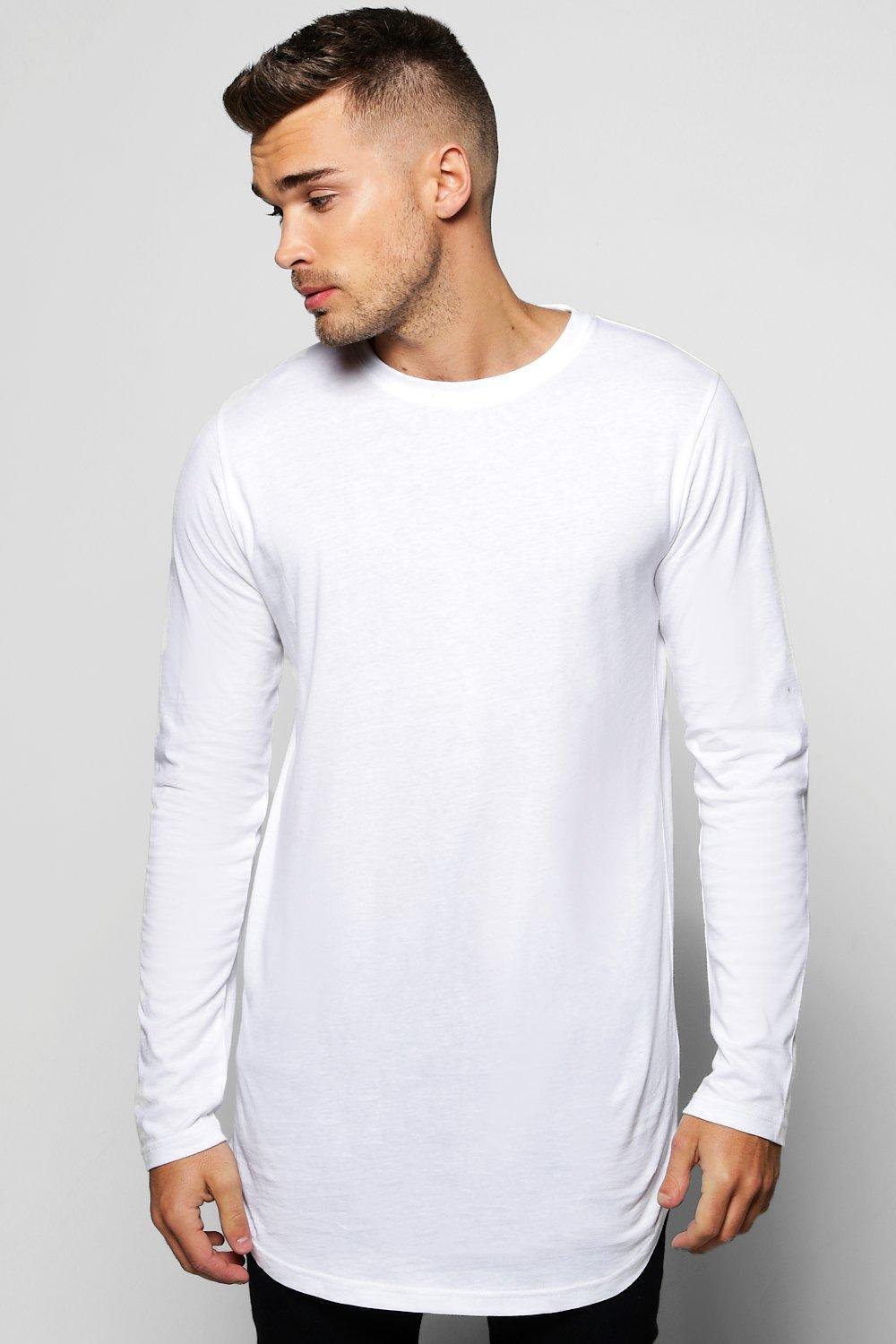 038c3c04d Lyst - Boohoo Long Sleeve Longline T Shirt With Scoop Hem in White ...