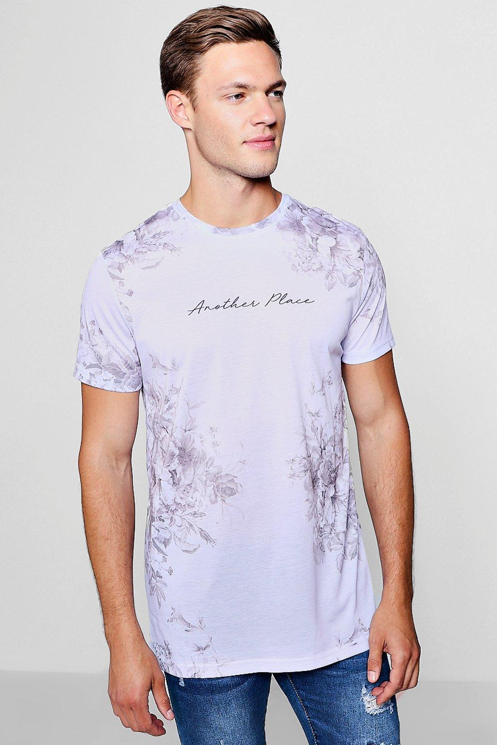 0af48383158 Boohoo Another Place Floral Longline Print T-shirt in Gray for Men ...
