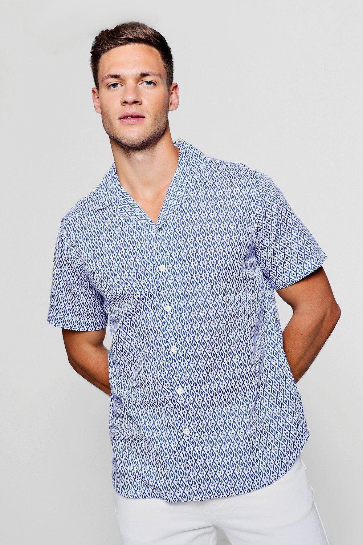 c9d5a21a Boohoo - White Mini Print Short Sleeve Revere Shirt for Men - Lyst. View  fullscreen