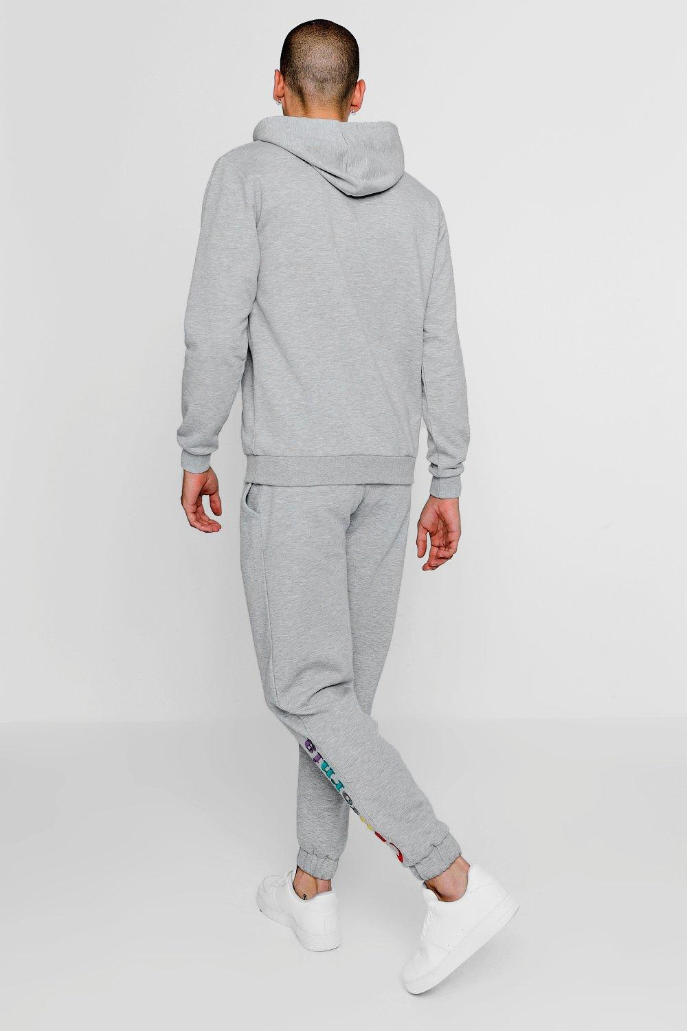 1218a26bd6be BoohooMAN - Gray California Embroidered Over The Head Tracksuit for Men -  Lyst. View fullscreen