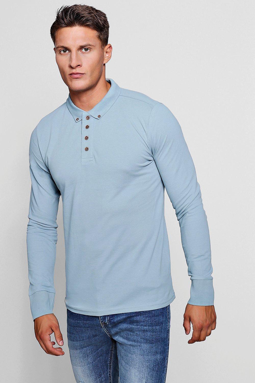 74f123a1 Boohoo Long Sleeve Button Collar Pique Polo in Green for Men - Lyst