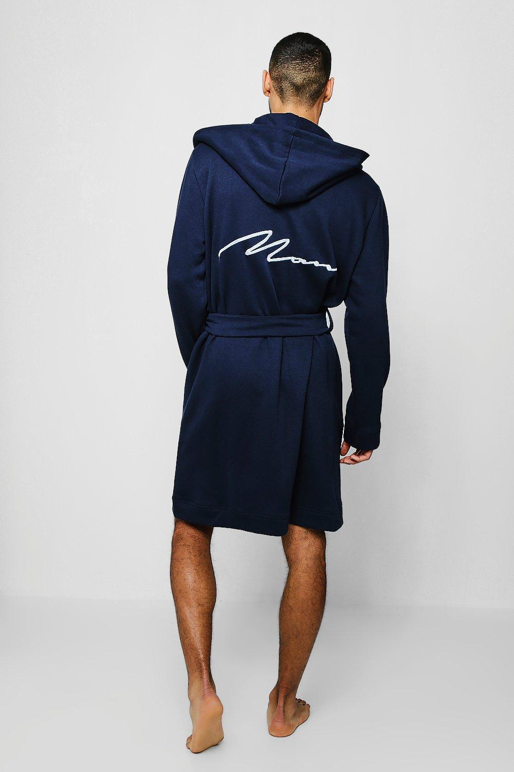 42aa3480db Boohoo Jersey Fleece Hooded Man Embroidered Robe in Blue for Men - Lyst