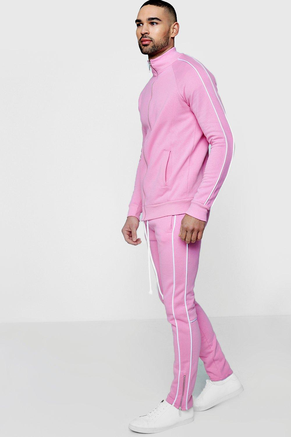 89c9e9eb71a1 Boohoo Skinny Fit Piped Tracksuit in Pink for Men - Lyst