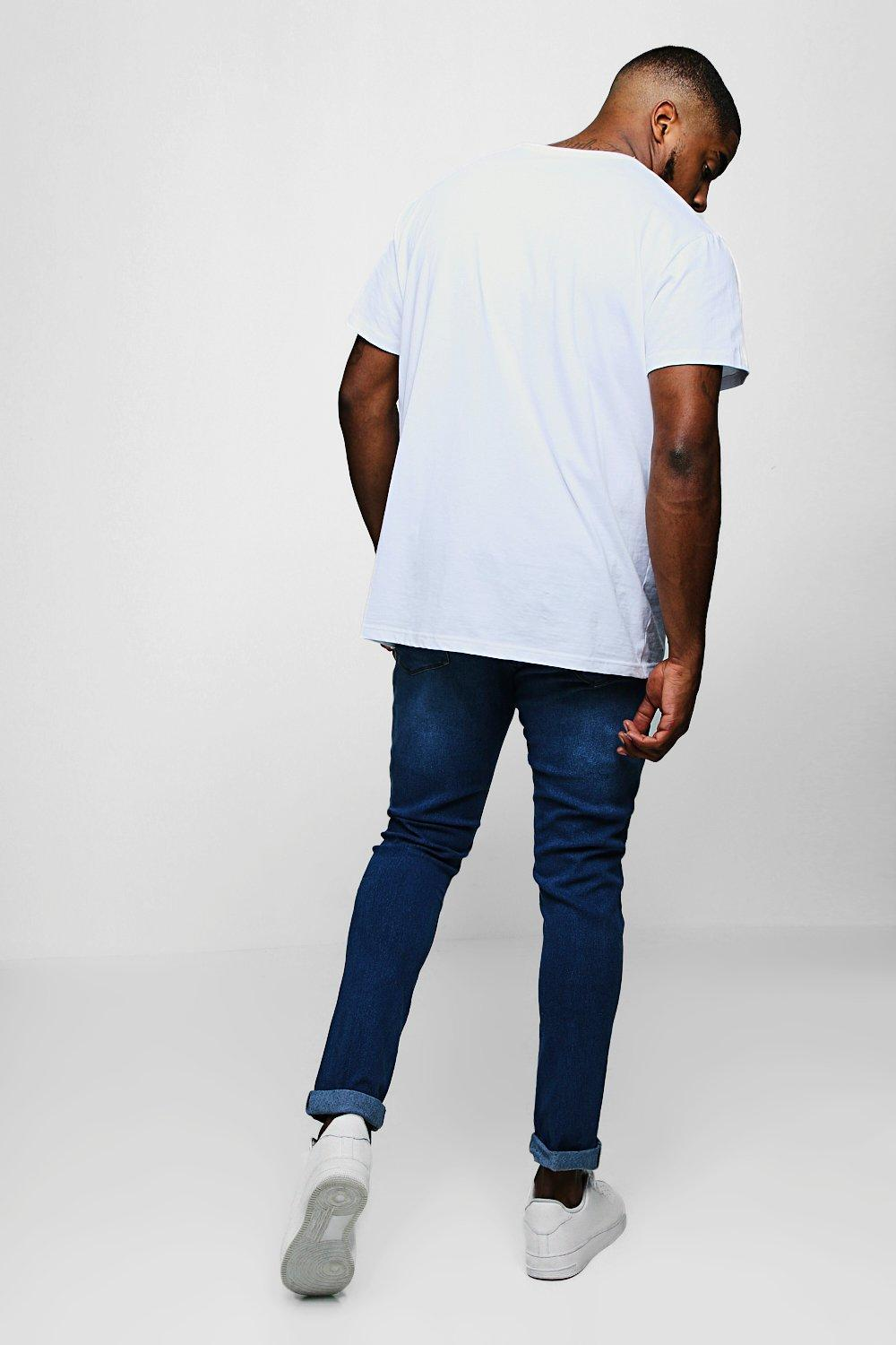 599434accf6e BoohooMAN - Big And Tall Blue Slim Fit Washed Jeans for Men - Lyst. View  fullscreen