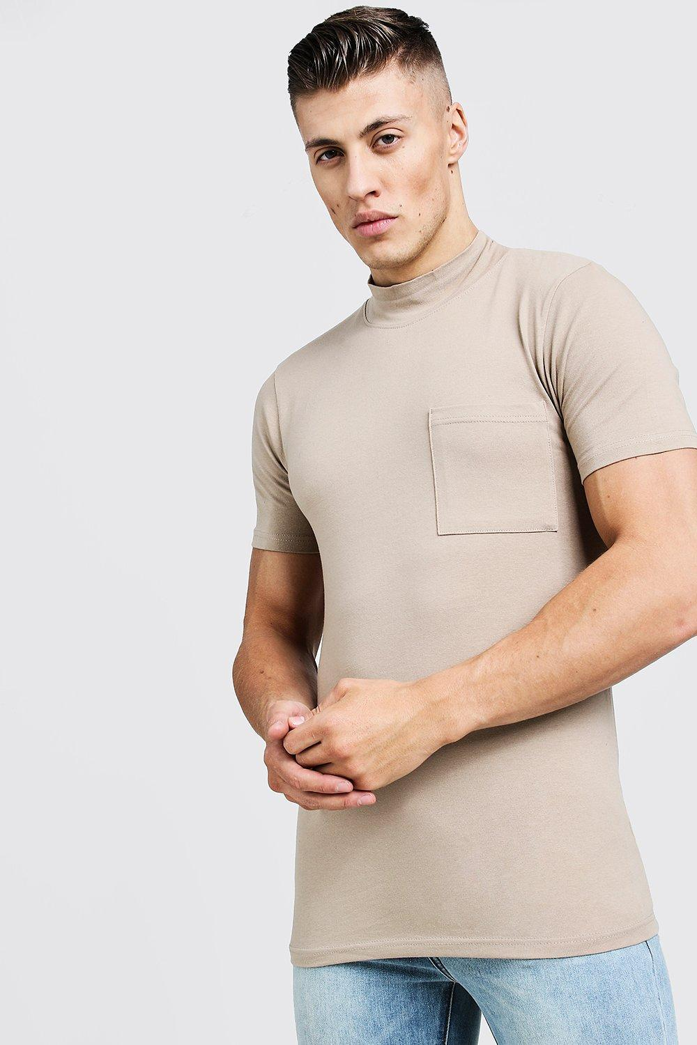 ed274273 Lyst - BoohooMAN Muscle Fit T-shirt With Extended Neck in Natural ...