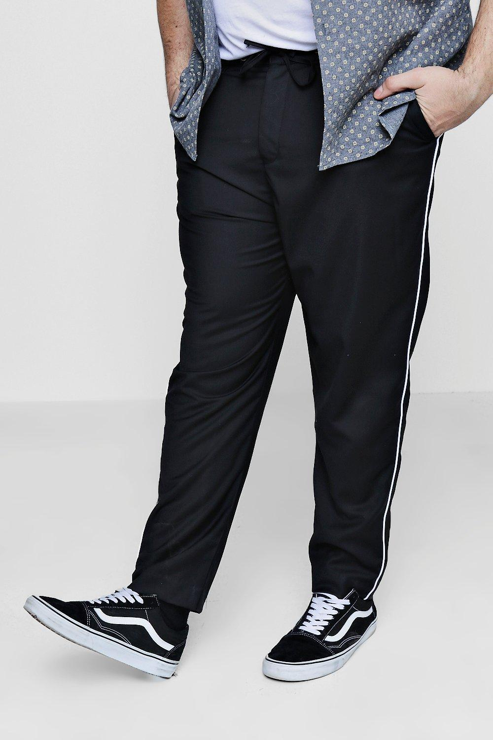 13dc9c1116d8 Boohoo Big And Tall Tailored Trousers With Piping in Black for Men ...
