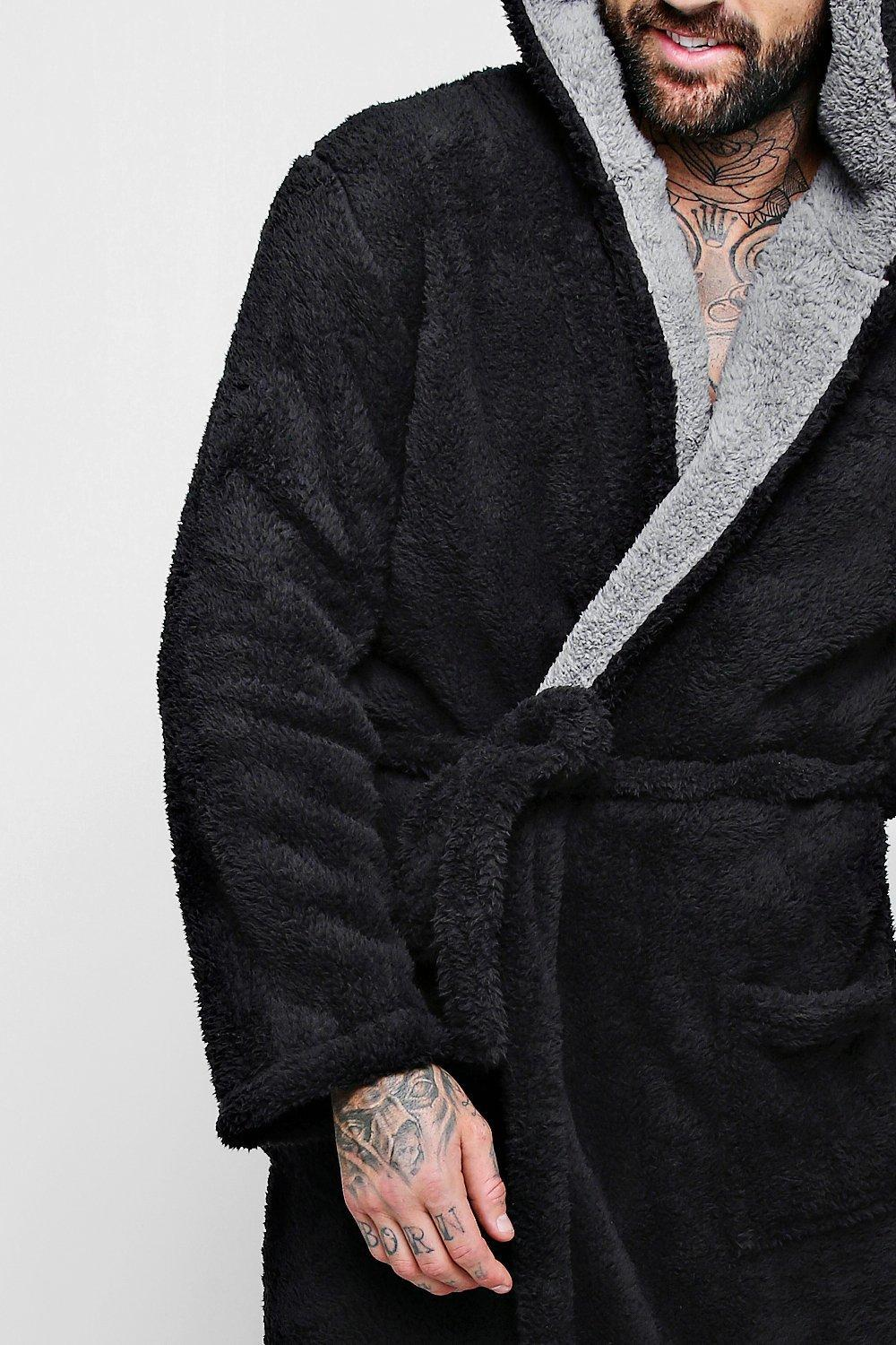 5c303ae953 Boohoo Mens Shaggy Fleece Robe With Contrast Lining in Black for Men ...