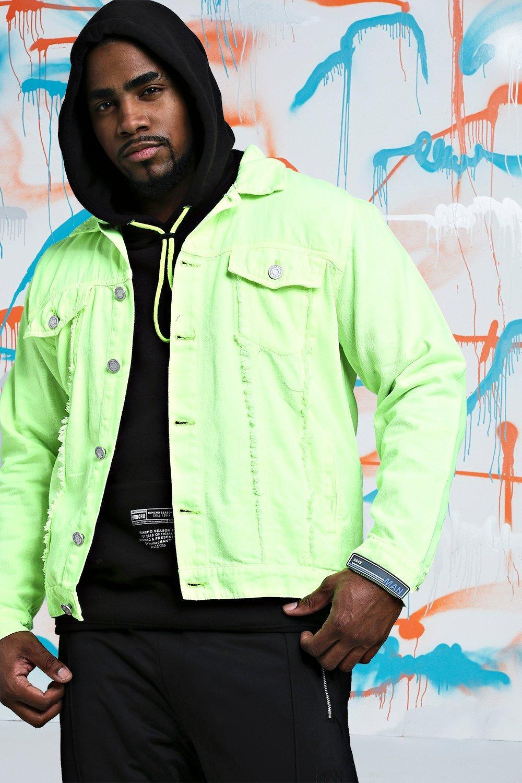9c01e35fa8b BoohooMAN Big   Tall Quavo Distressed Denim Jacket in Green for Men ...