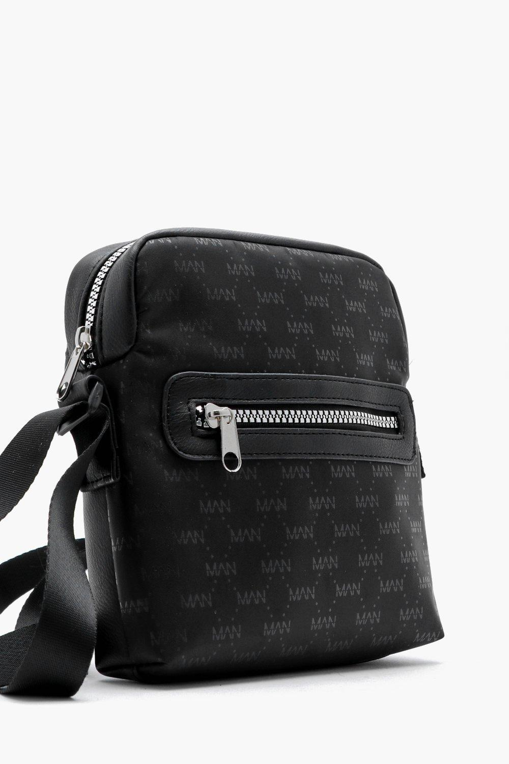 b7926afaacba BoohooMAN - Black Mono Man Repeat Faux Leather Cross Body Bag for Men - Lyst.  View fullscreen