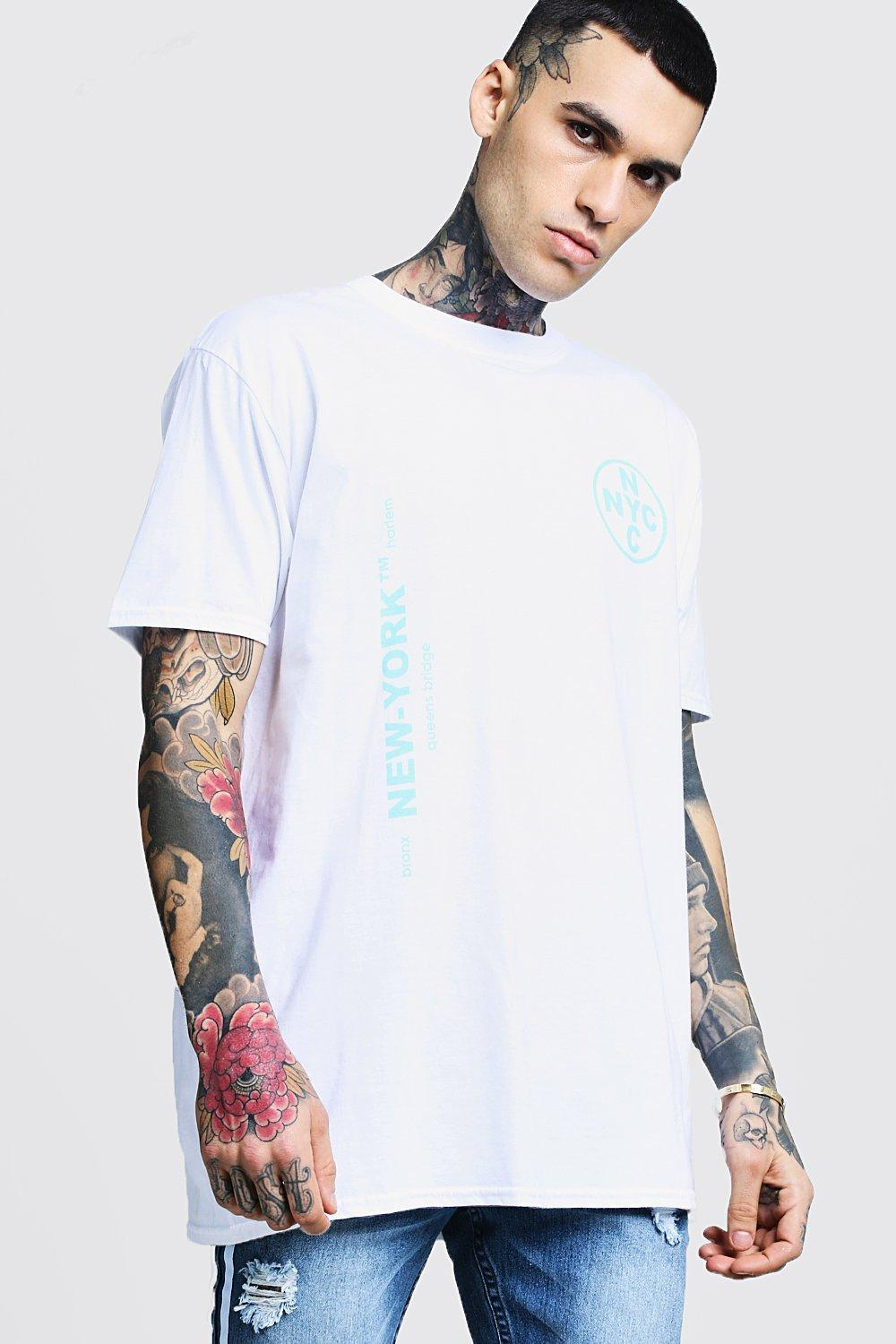 0f15f31b9 Lyst - BoohooMAN Oversized Nyc Printed Neon T-shirt in White for Men