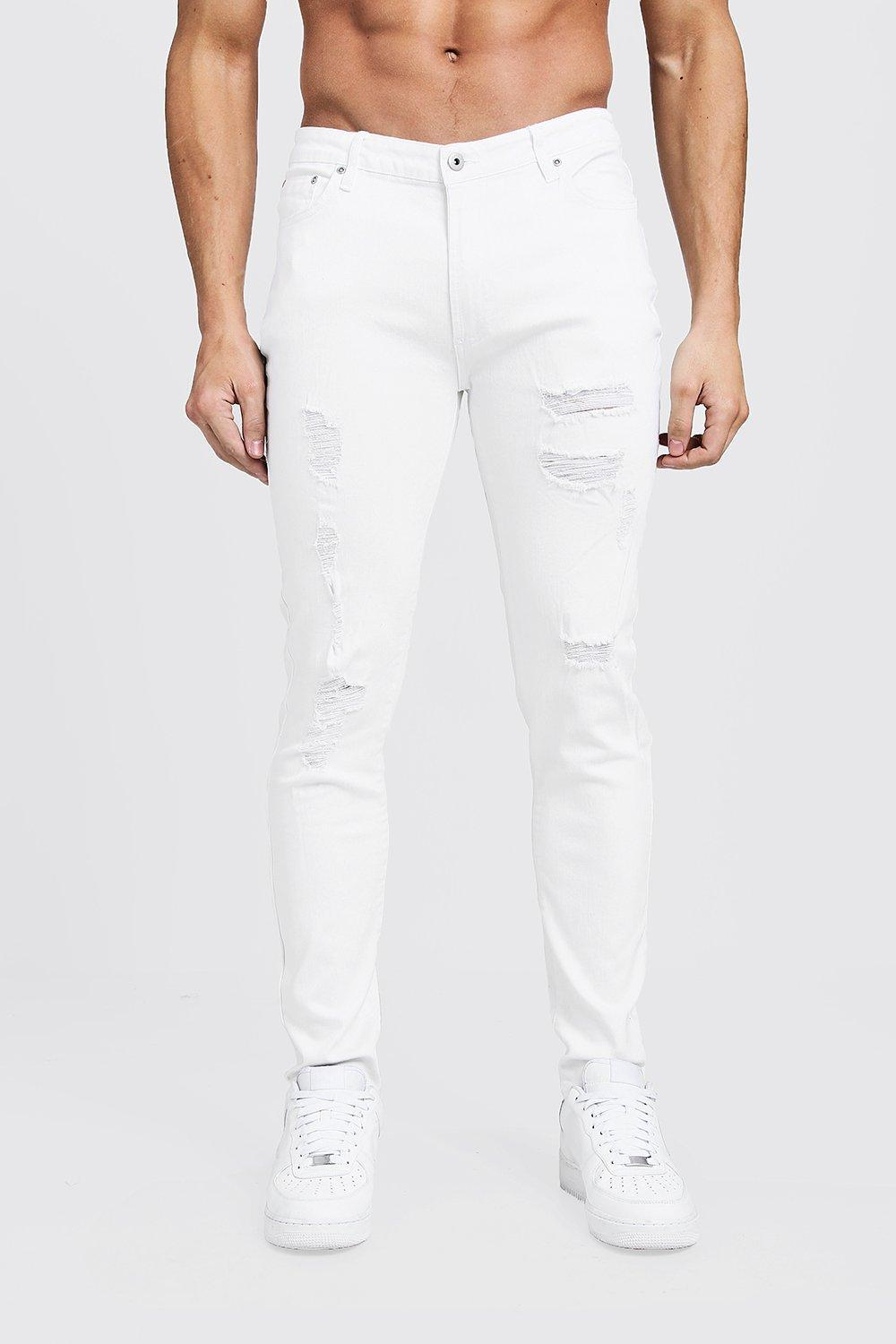 95dbc310c2393 BoohooMAN Stark Zerrissene Skinny-fit Jeans in White for Men - Lyst