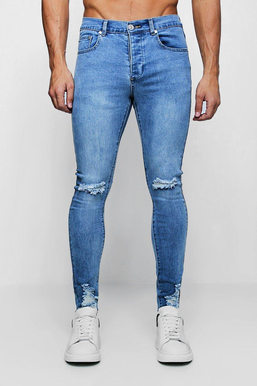 1bb8305cf16c Lyst - BoohooMAN Super Skinny Jeans With Distressed Knee And Hem in ...