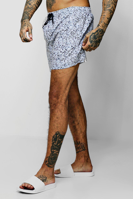 af2357baef61f BoohooMAN. Men's Gray Paint Splatter Mid Length Swim Short. $28 From  boohooman