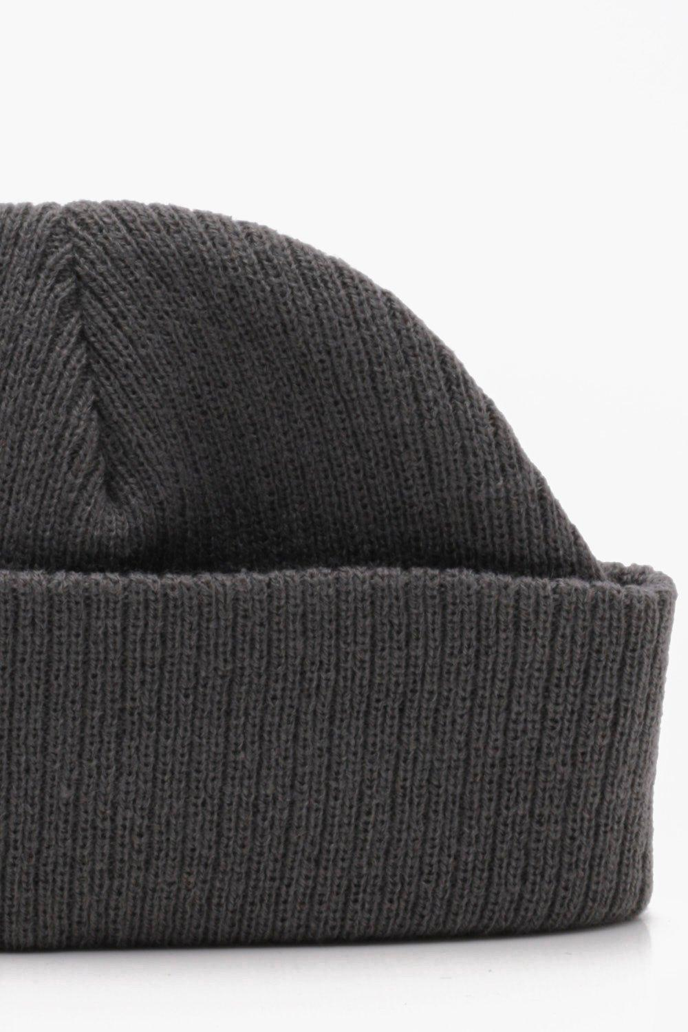 adceebff924 Lyst - Boohoo Ribbed Knit Short Fit Beanie With Turn Up in Gray for Men