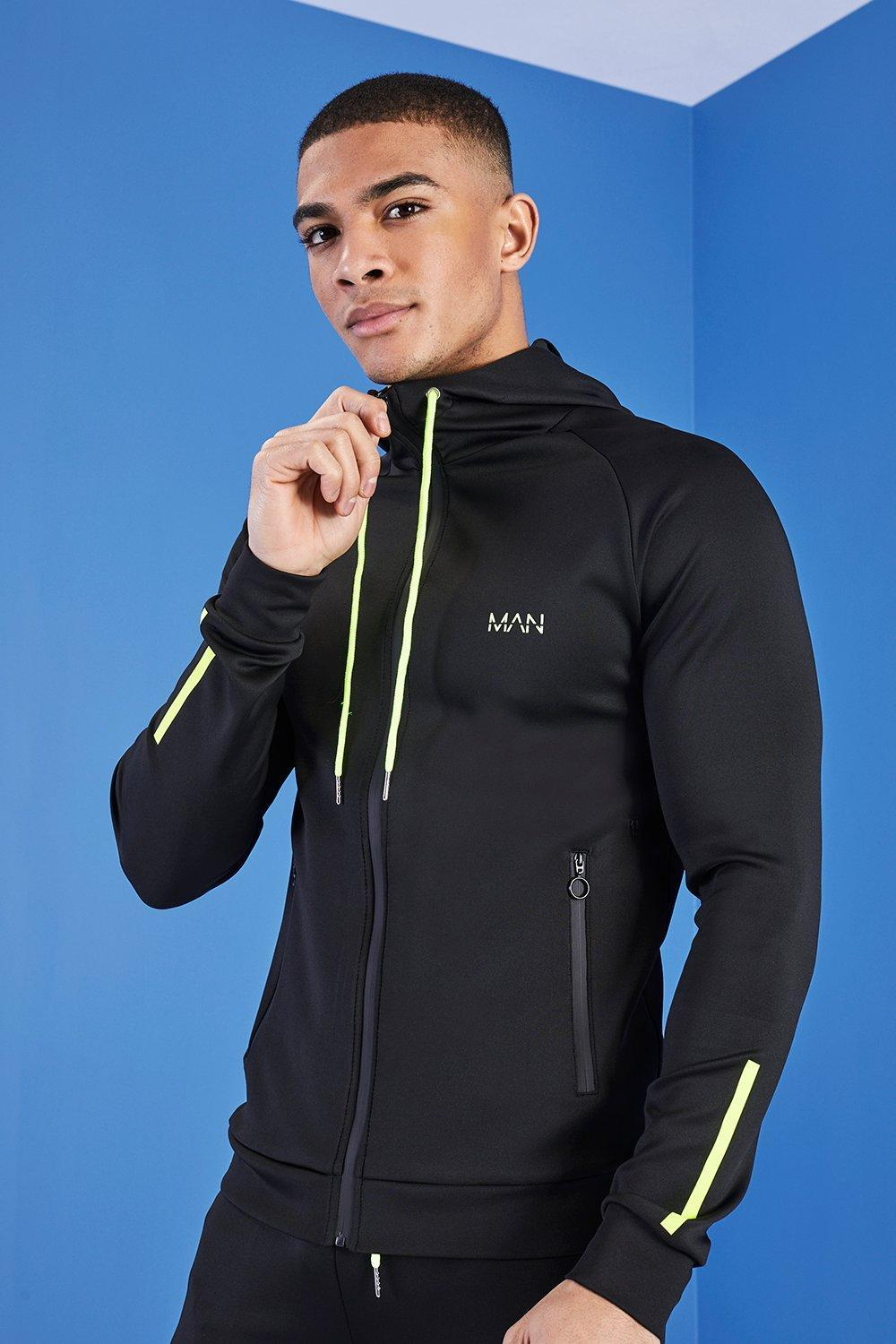 ad3bae14a99b Lyst - BoohooMAN Man Active Zip Through Panelled Hoodie in Black for Men