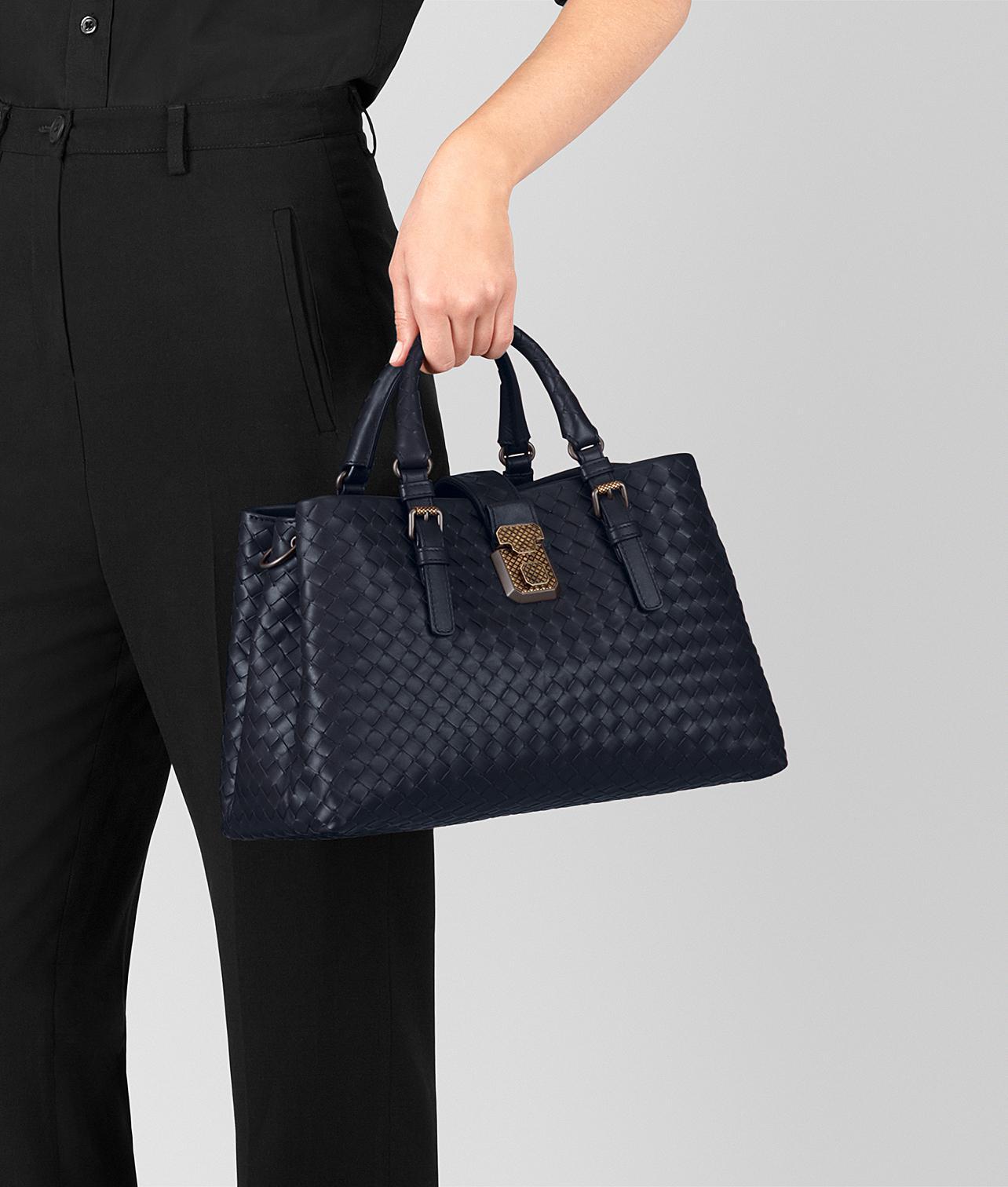 Bottega Veneta Dark Cement Intrecciato Calf Roma Bag in Blue - Lyst 77a72314b311b
