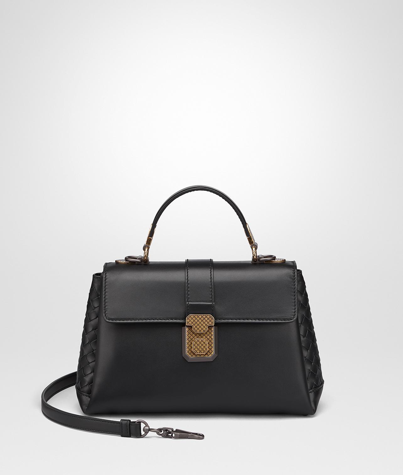 2b9d335252 Bottega Veneta Denim Calf Small Piazza Bag in Black - Lyst