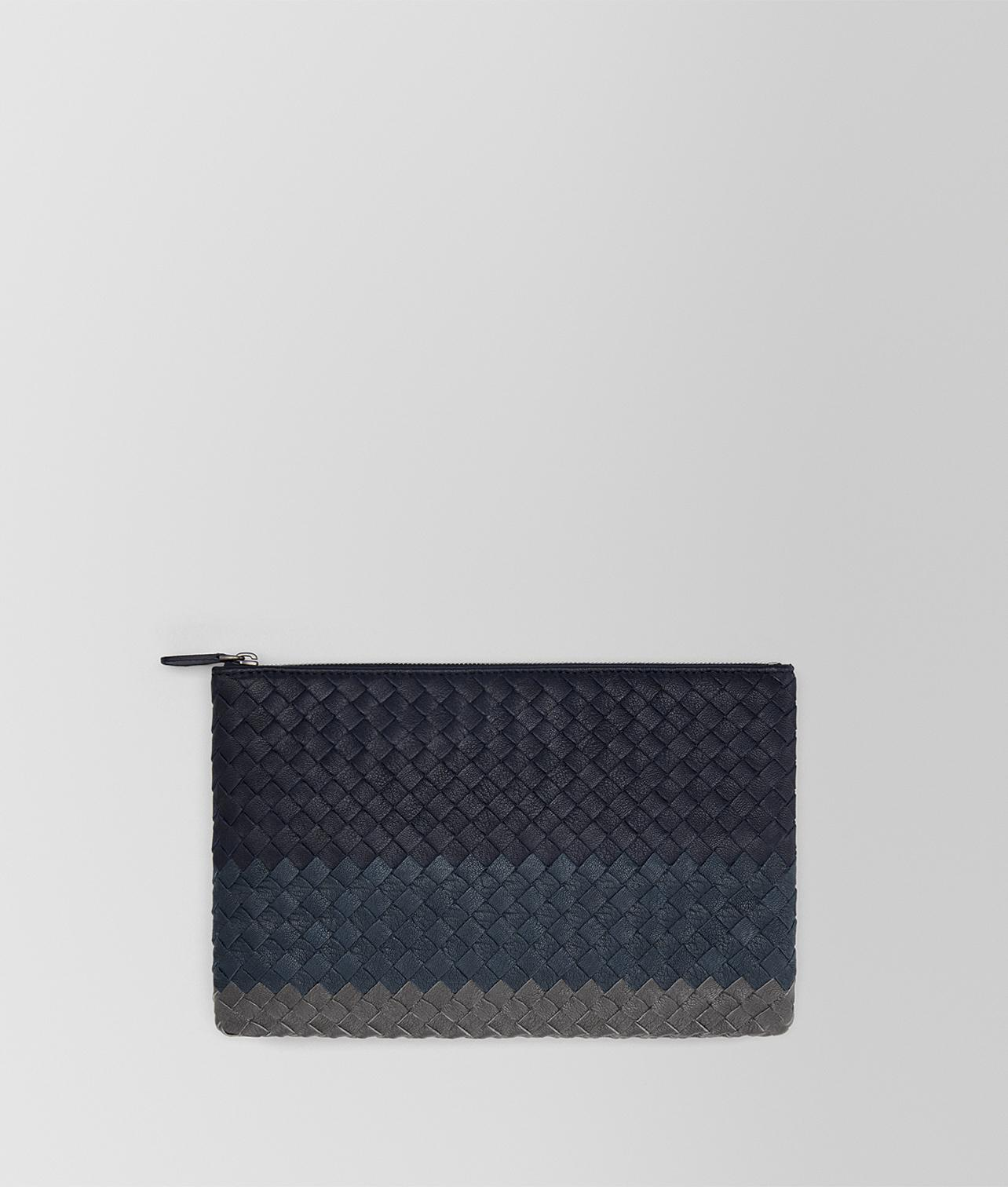 Bottega Veneta. Women s Blue Dark Navy Intrecciato Lamb Club Leather Medium  Biletto a3e85da2439b4