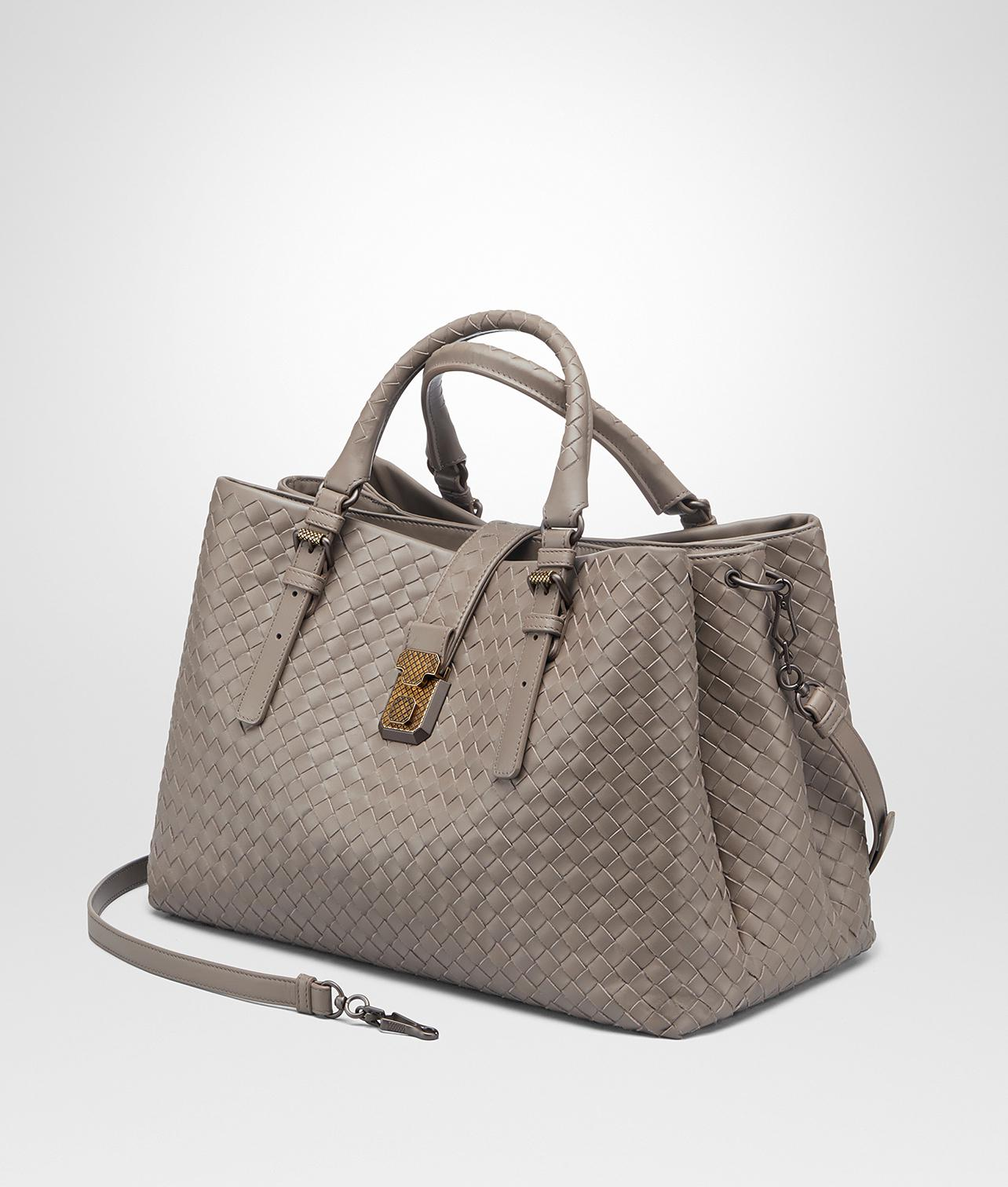 11a77d623cc9 Bottega Veneta Steel Intrecciato Calf Medium Roma Bag in Gray - Lyst