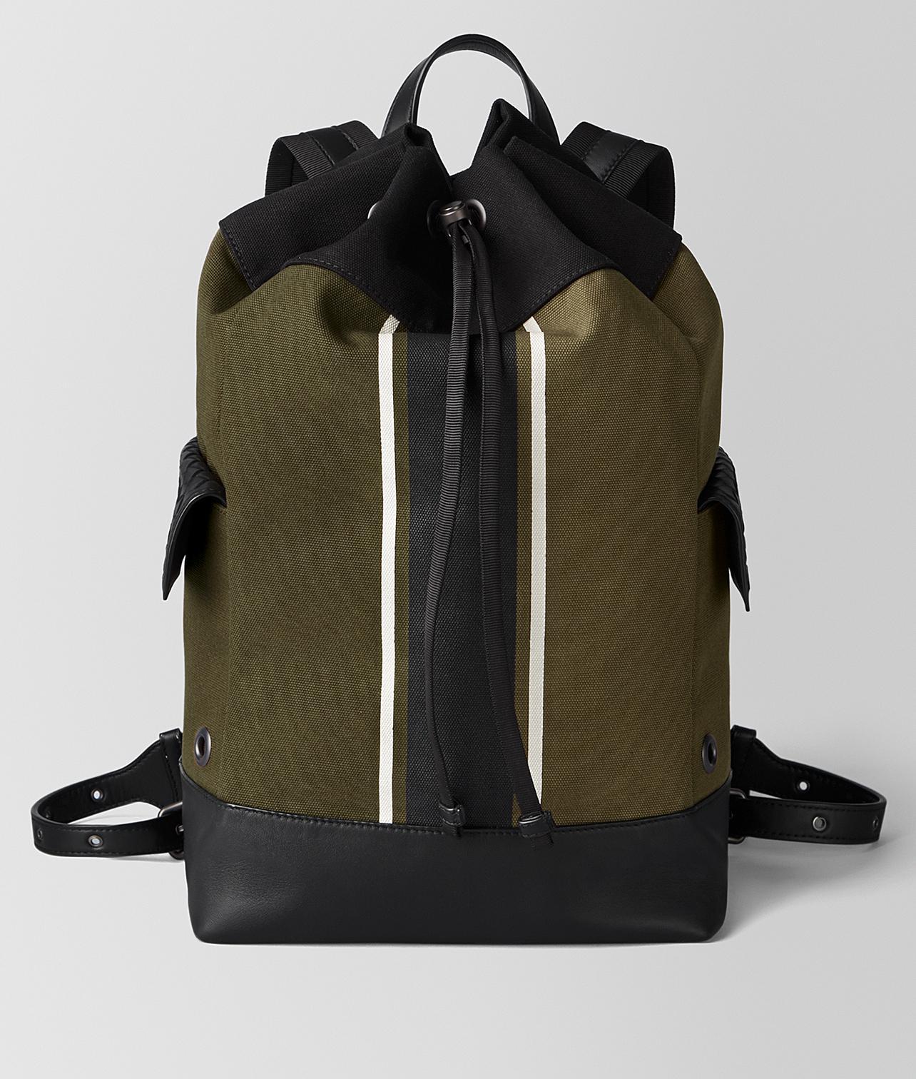 Bottega Veneta Mustard nero Canvas Backpack for Men - Lyst 8ffb7f1a1f