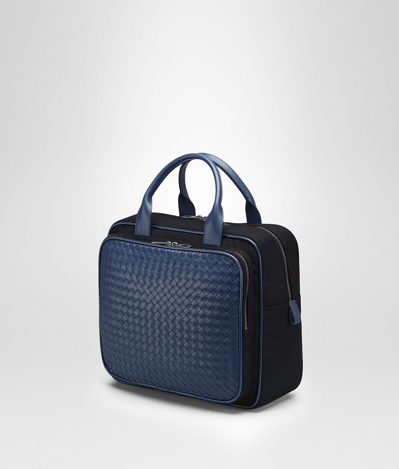 363058b26856 Lyst - Bottega Veneta Travel Bag In Tourmaline Technical Canvas And Pacific  Intrecciato Calf in Blue
