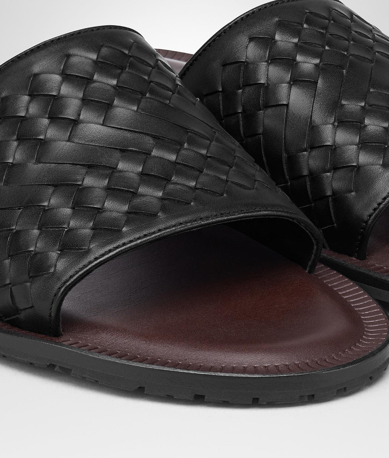 e0f38eefe802 Bottega Veneta Nero Intrecciato Calf Sapa Sandal in Black for Men - Lyst