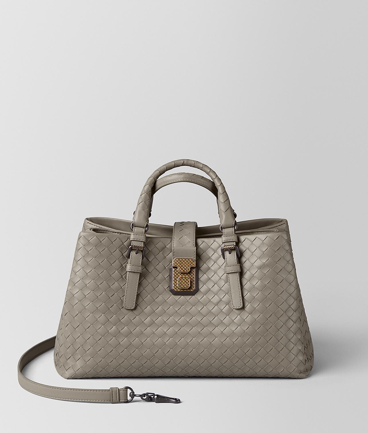8ec685bbb7d7 Bottega Veneta. Women s Dark Cement Intrecciato Calf Roma Bag