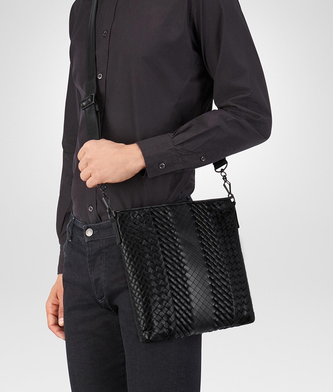 4ea8f45221 Lyst - Bottega Veneta Messenger Bag In Nero Intreccio Imperatore Calf in  Black for Men - Save 5%