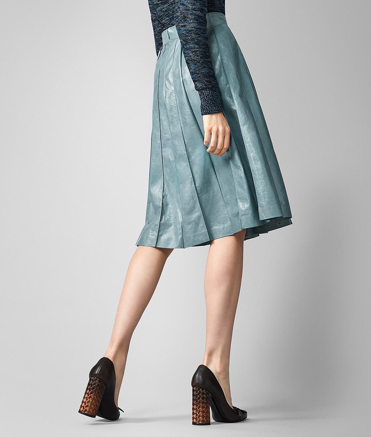 fba3cbc28b Bottega Veneta - Blue Skirt In Lamb - Lyst. View fullscreen