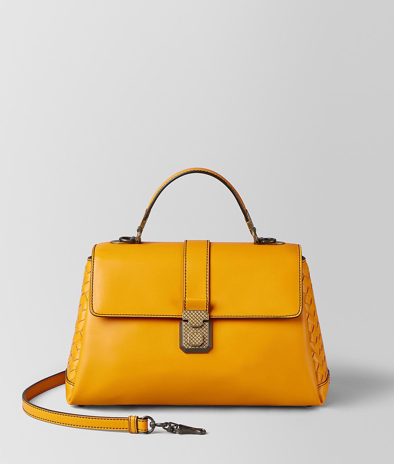 7cf36c39cf Bottega Veneta Sunset Calf Piazza Bag in Yellow - Lyst
