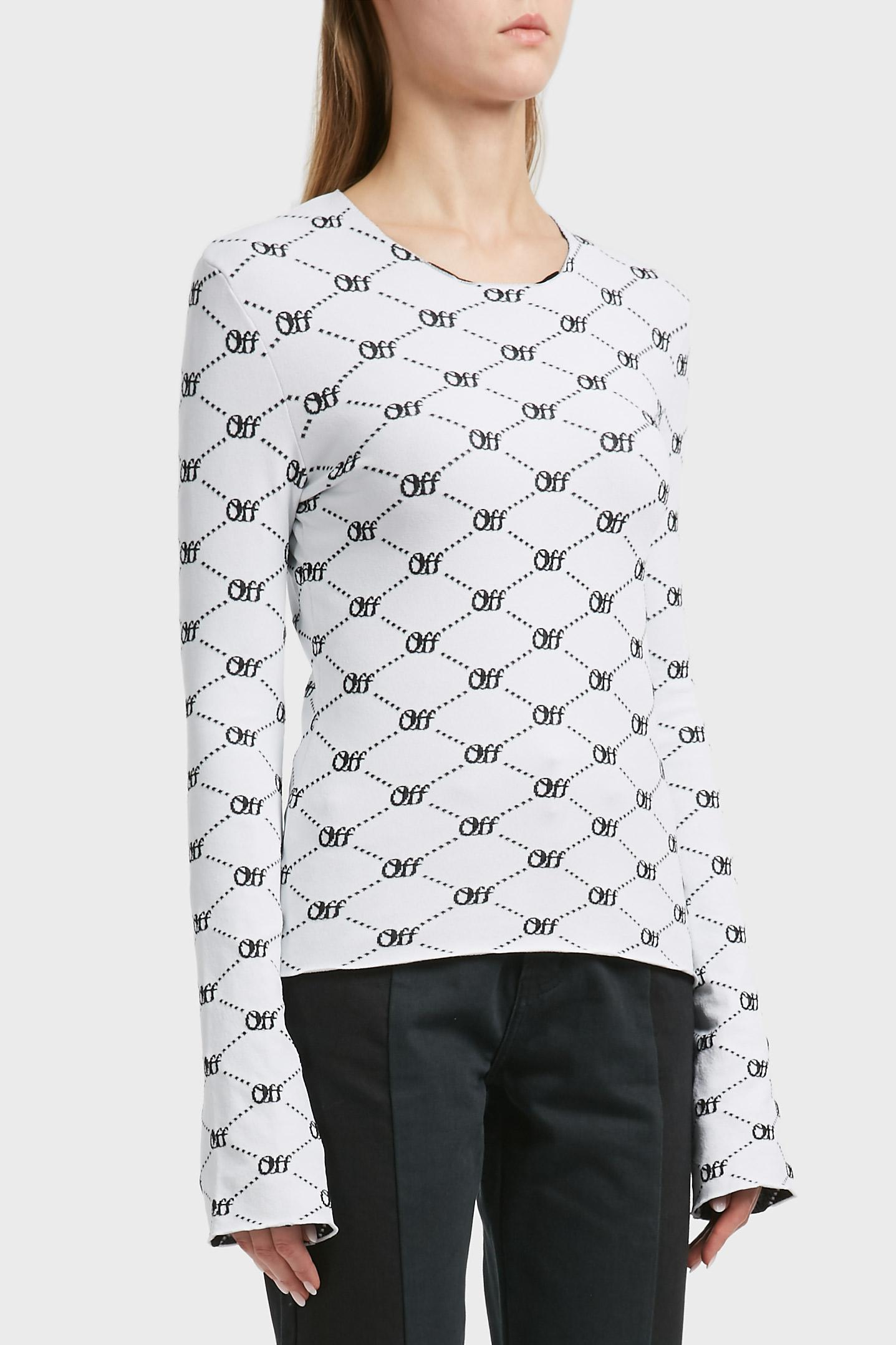 465b262f68fb Lyst - Off-White c o Virgil Abloh Intarsia Knitted Top in Black