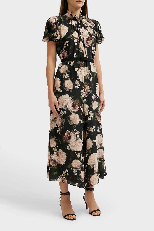 f8634e3978d5 Lyst - Erdem Ellamay Belted Floral-print Silk Crepe De Chine ...