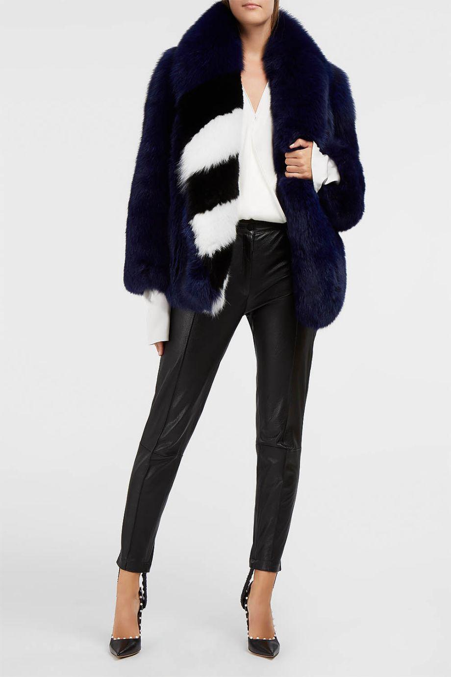 58d08c9d40b94 Lyst - Off-White c o Virgil Abloh Rap Fox Fur Coat in Blue