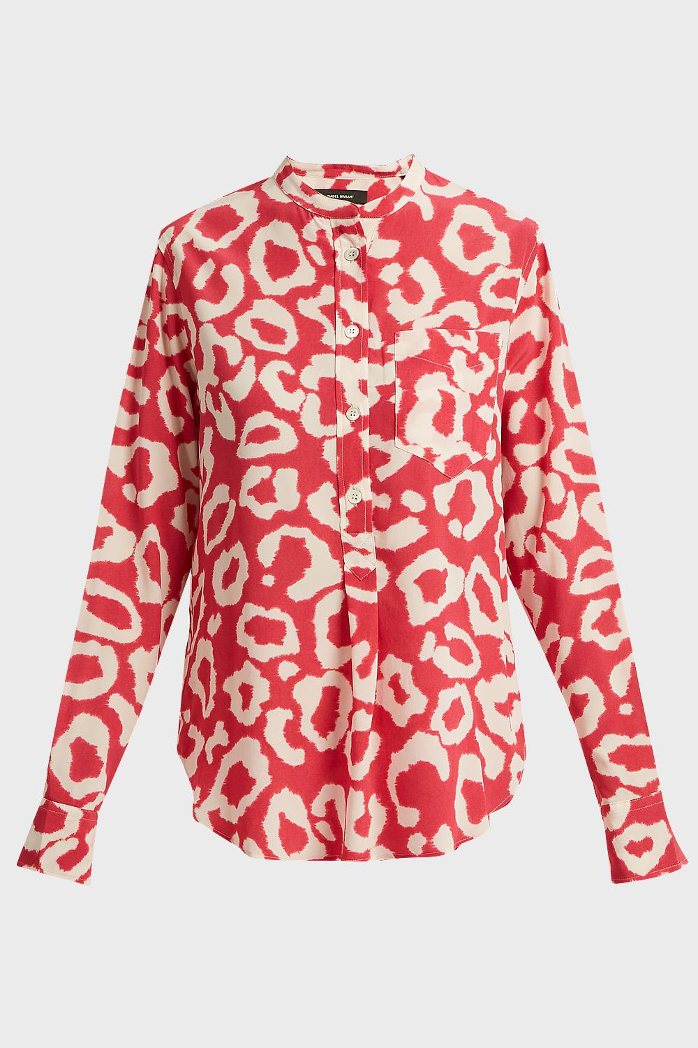 2a86d8d9fae222 Isabel Marant - Red Rusak Printed Stretch-silk Shirt - Lyst. View fullscreen
