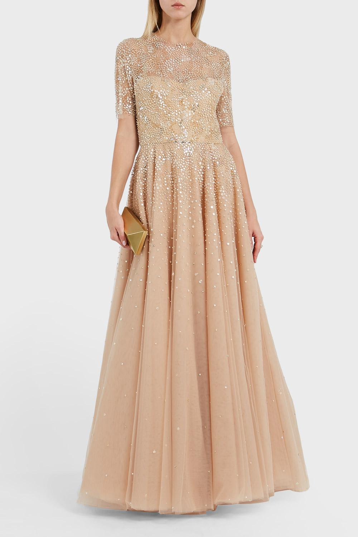Lyst - Reem Acra Embellished Tulle Dress in Natural