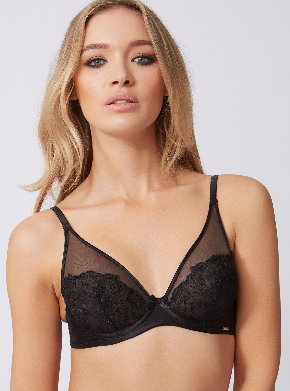 093bc81a76 Lyst - Boux Avenue Lindy Embroidered Plunge Bra in Black