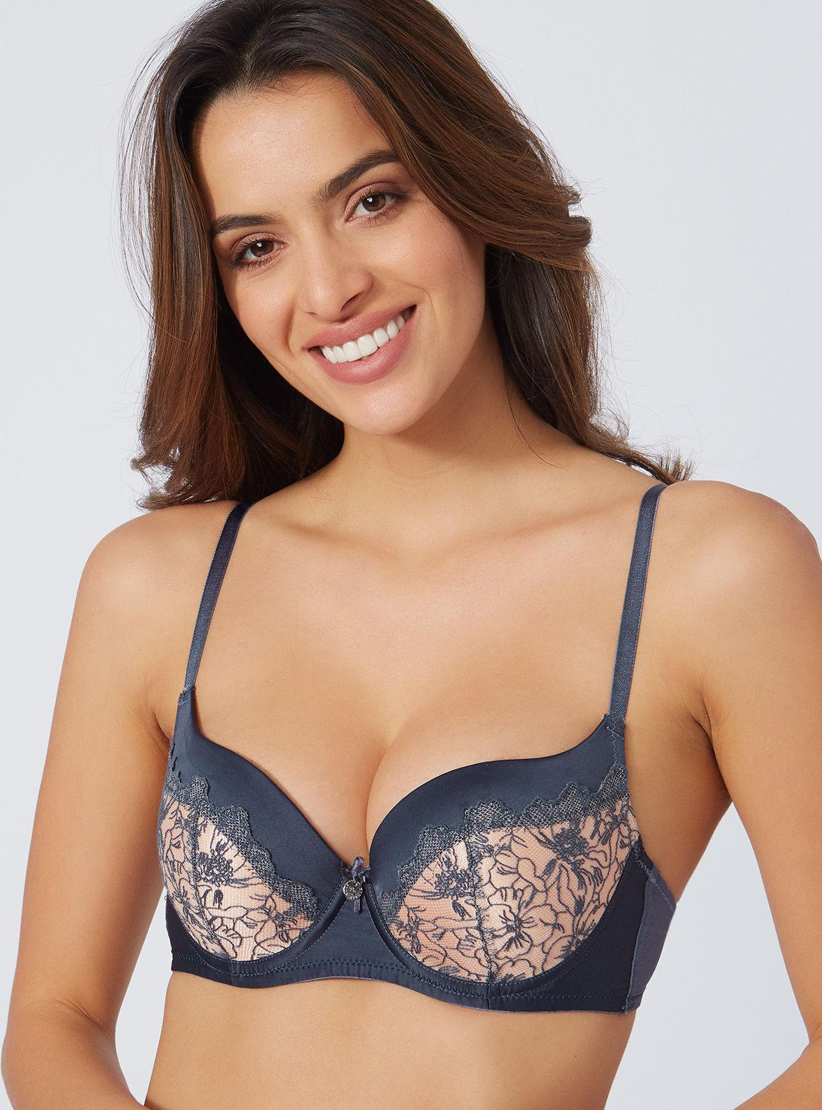 e9fdce13f584d Lyst - Boux Avenue Pansy Embroidered Balconette Bra in Blue