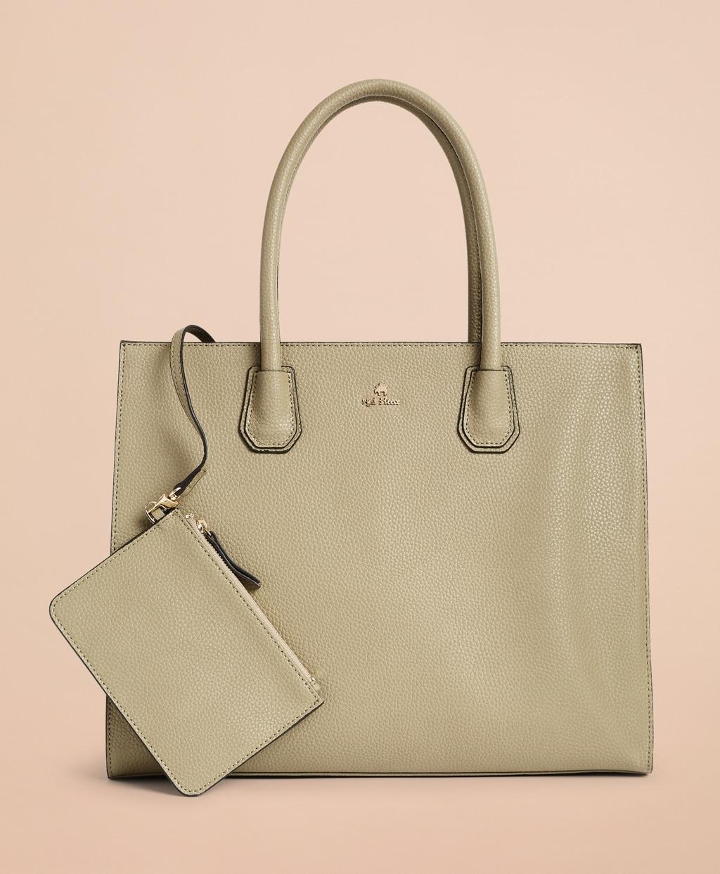 df503421f Brooks Brothers Pebbled Leather Tote Bag in Green - Lyst