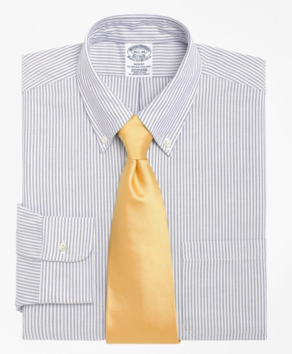 Lyst brooks brothers traditional fit stripe dress shirt for Brooks brothers dress shirt fit guide